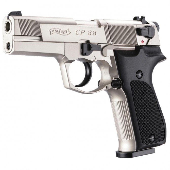 """Pistola Walther CP88 4"""" Nickel Co2 Full Metal"""