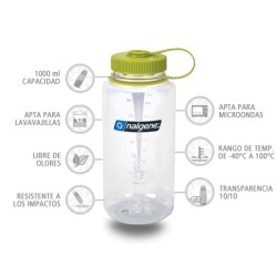 Botella Nalgene Boca Ancha Transparente 1000 ml